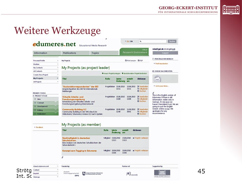 Weitere Werkzeuge Strötgen: Virtuelle Forschungsumgebungen in Digitalen Bibliotheken Int.