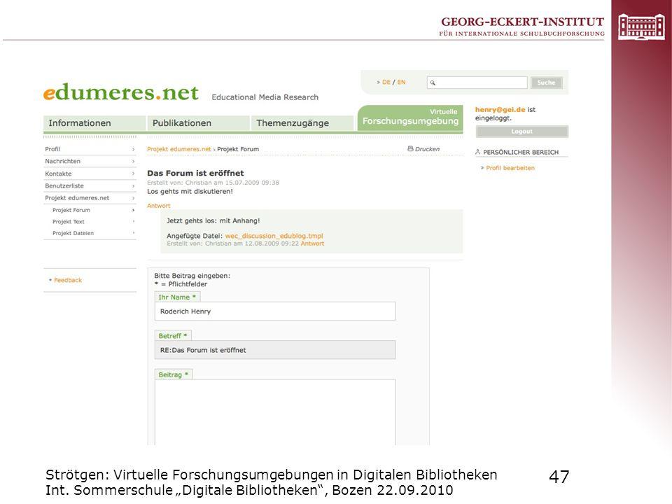 Strötgen: Virtuelle Forschungsumgebungen in Digitalen Bibliotheken Int
