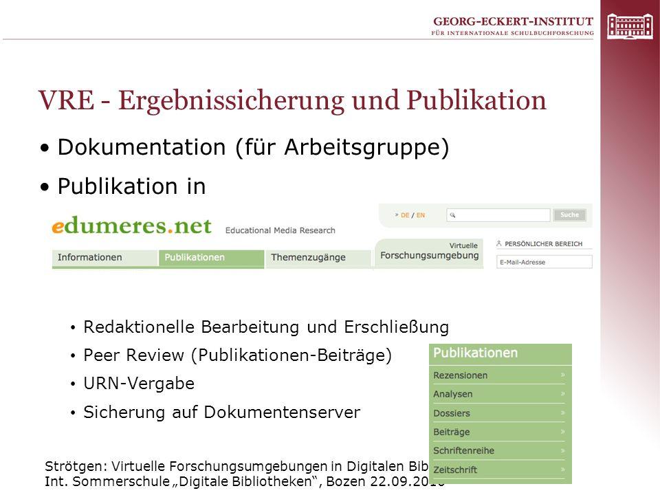VRE - Ergebnissicherung und Publikation