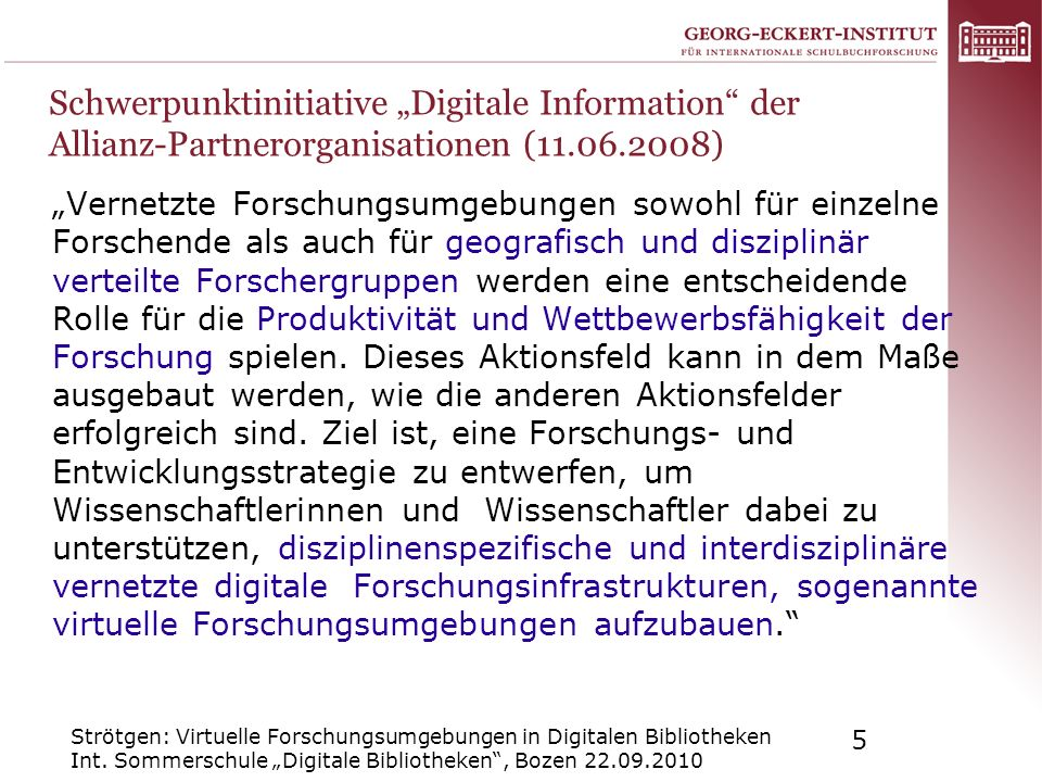 "Schwerpunktinitiative ""Digitale Information der Allianz-Partnerorganisationen ( )"