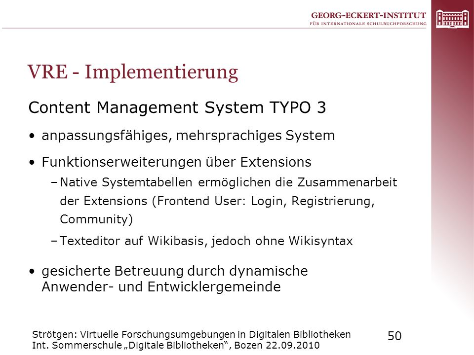 VRE - Implementierung Content Management System TYPO 3