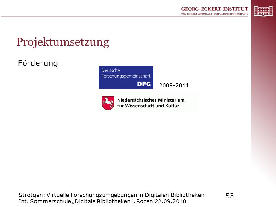 Projektumsetzung Förderung 2009-2011