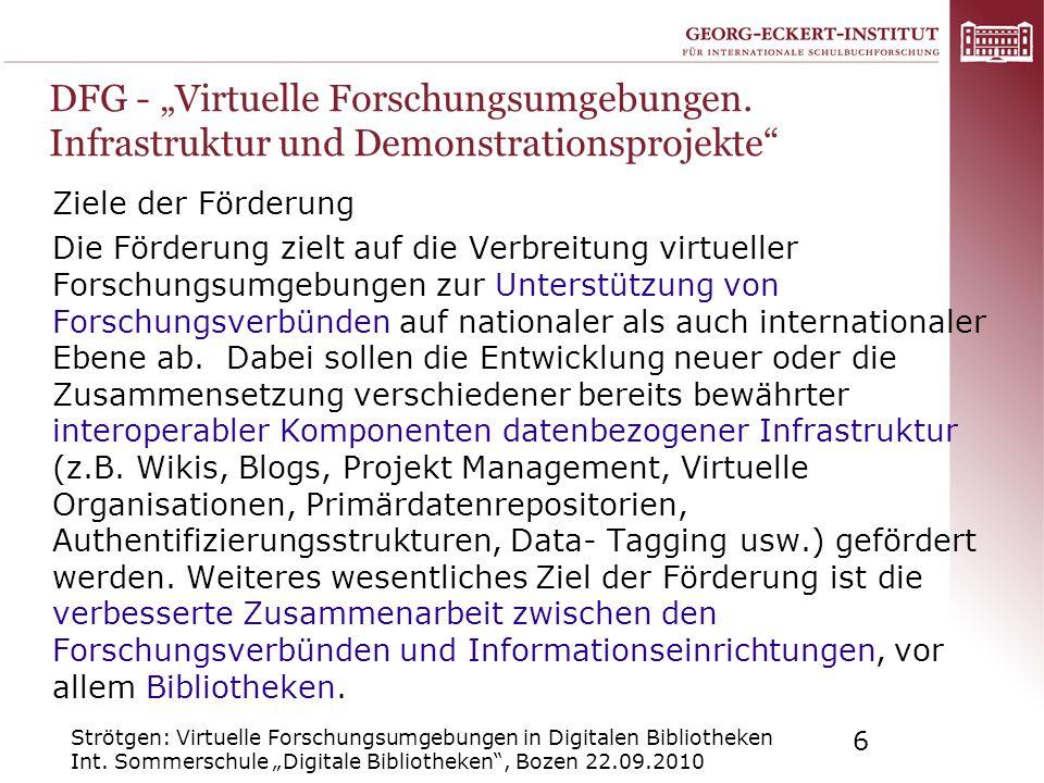 """DFG - """"Virtuelle Forschungsumgebungen"""