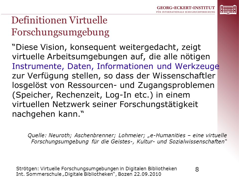 Definitionen Virtuelle Forschungsumgebung