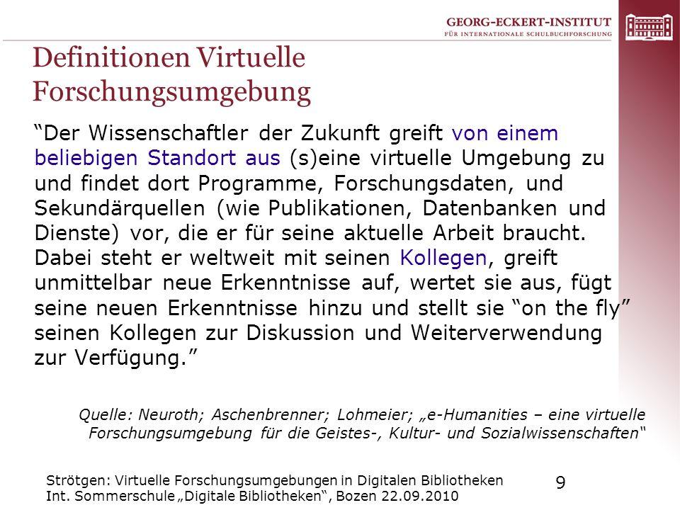 Definitionen Virtuelle Forschungsumgebung