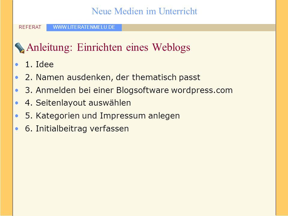 Anleitung: Einrichten eines Weblogs