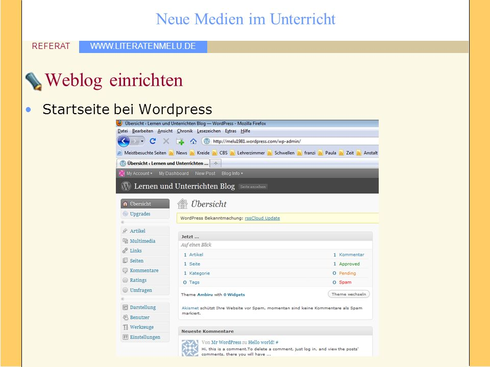 Weblog einrichten Startseite bei Wordpress