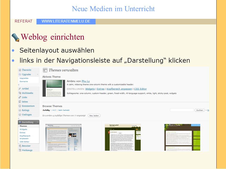 Weblog einrichten Seitenlayout auswählen