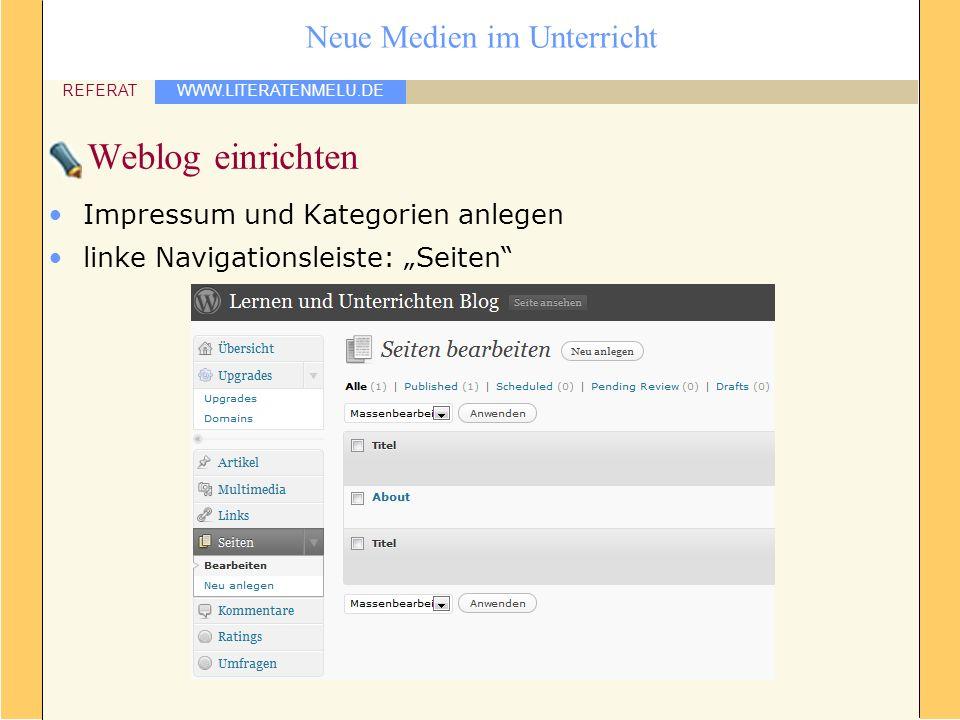 Weblog einrichten Impressum und Kategorien anlegen