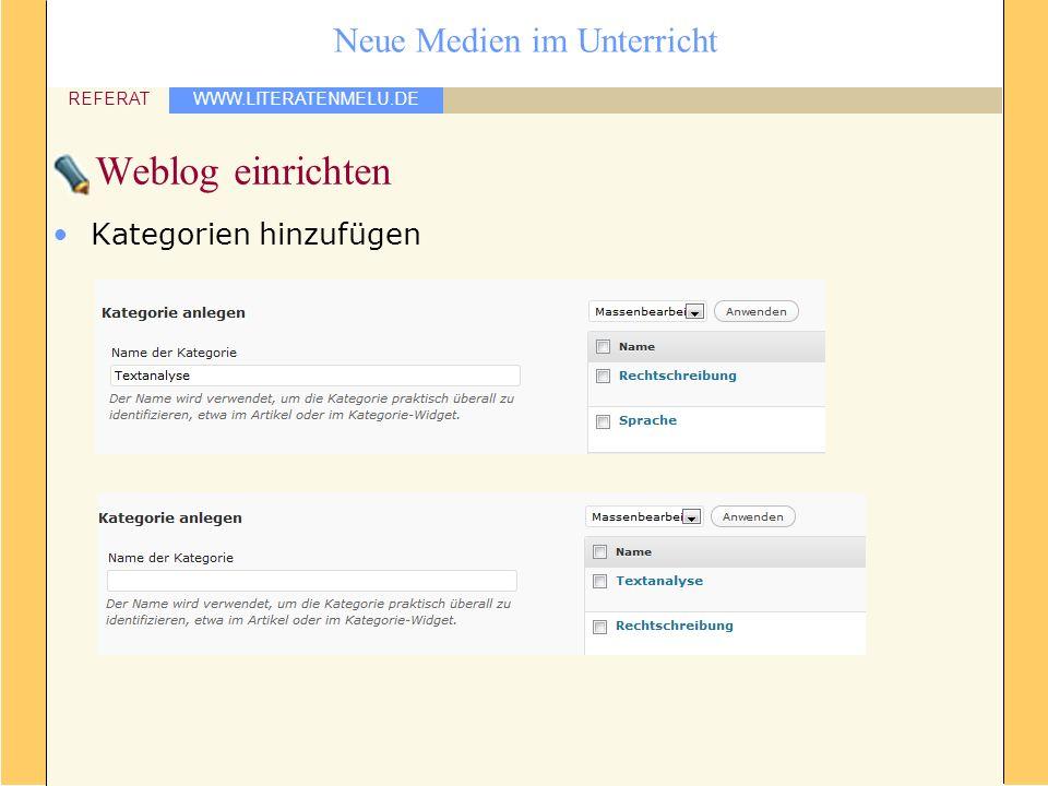 Weblog einrichten Kategorien hinzufügen