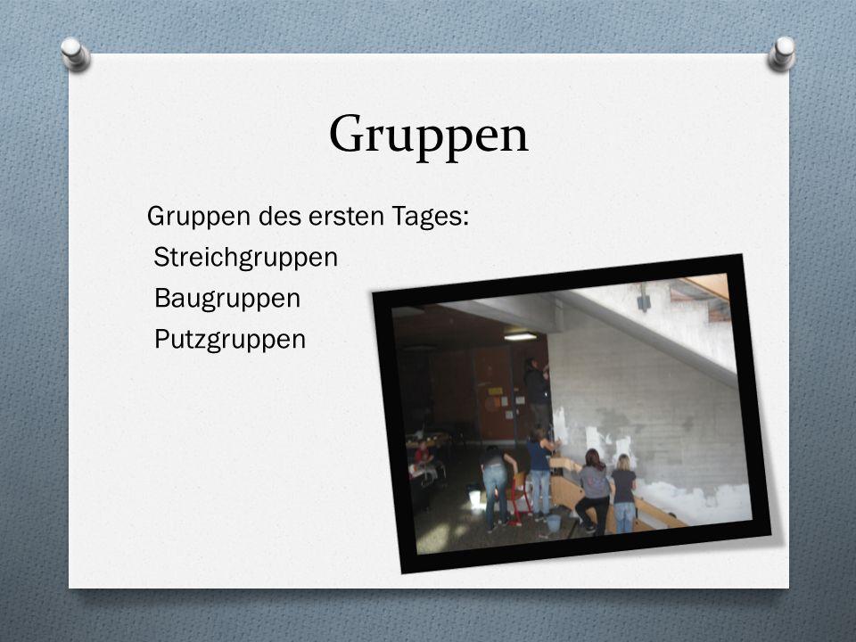 Gruppen Gruppen des ersten Tages: Streichgruppen Baugruppen Putzgruppen