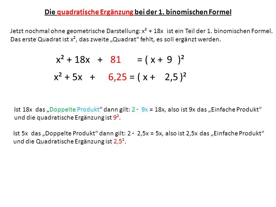 Die quadratische Ergänzung bei der 1. binomischen Formel