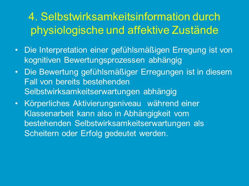 4. Selbstwirksamkeitsinformation durch physiologische und affektive Zustände