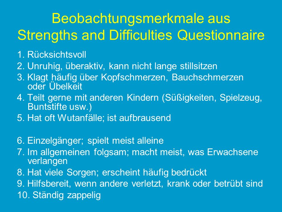 Beobachtungsmerkmale aus Strengths and Difficulties Questionnaire