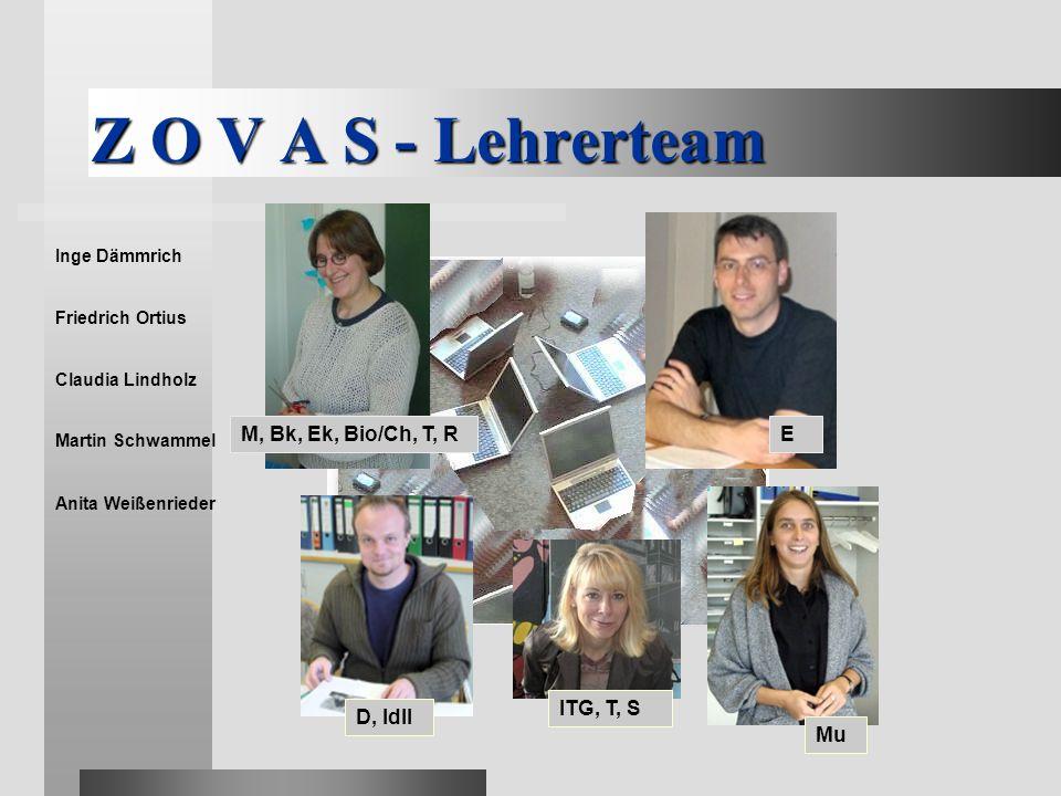 Z O V A S - Lehrerteam M, Bk, Ek, Bio/Ch, T, R E ITG, T, S D, Idll Mu