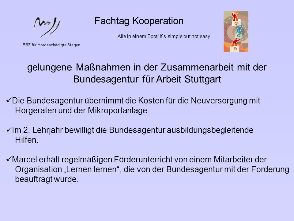 Fachtag Kooperation Alle in einem Boot! It`s simple but not easy. BBZ für Hörgeschädigte Stegen.