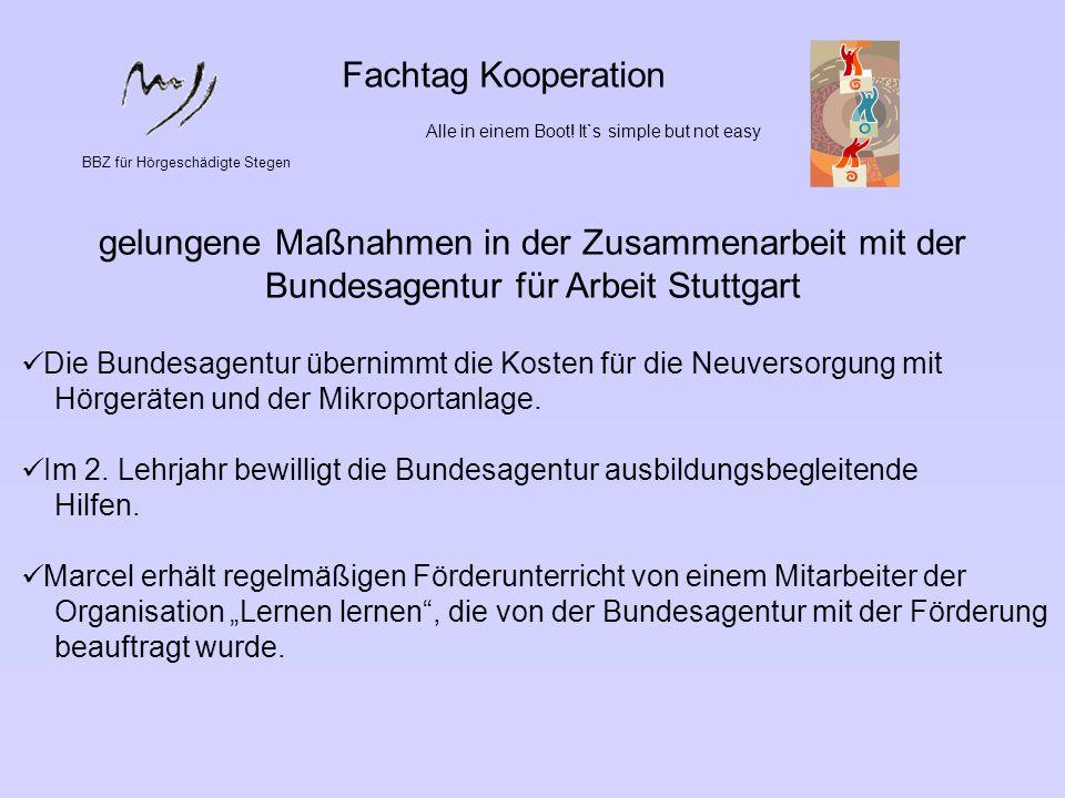 Fachtag KooperationAlle in einem Boot! It`s simple but not easy. BBZ für Hörgeschädigte Stegen.