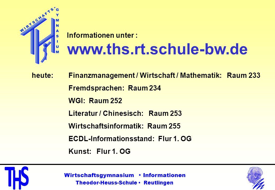 heute: Finanzmanagement / Wirtschaft / Mathematik: Raum 233