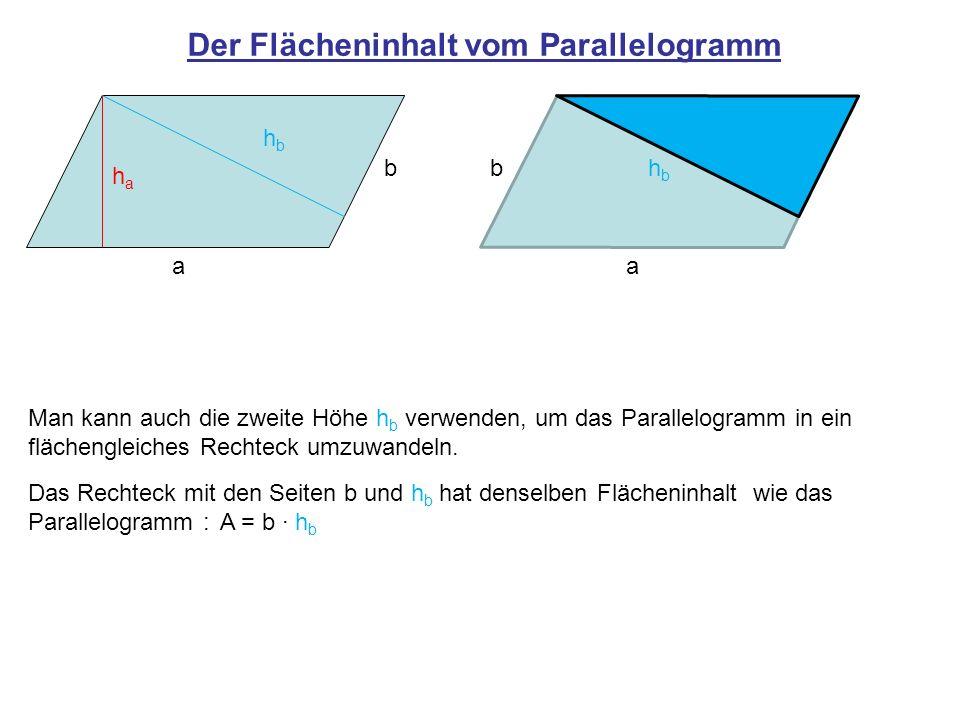 Der Flächeninhalt vom Parallelogramm
