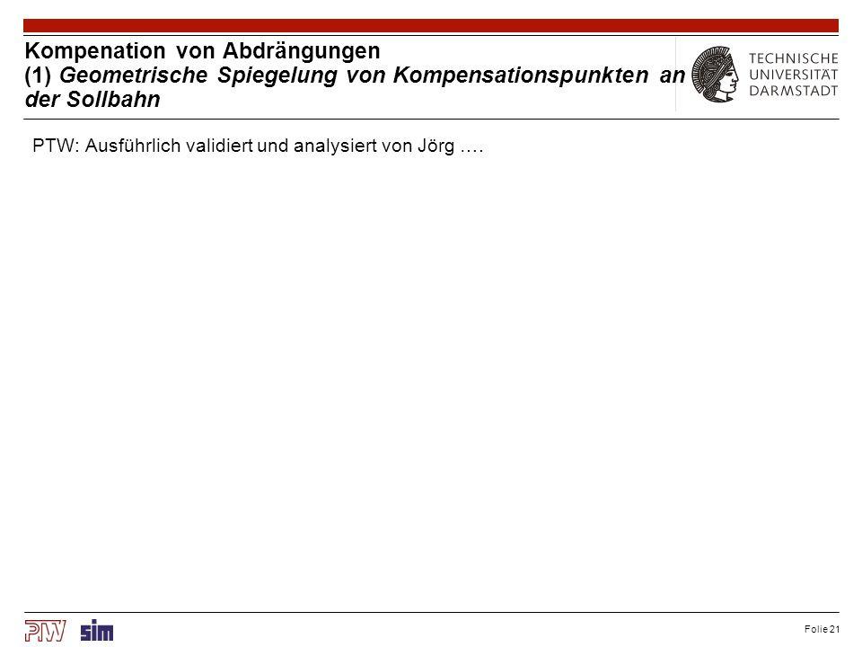 Kompenation von Abdrängungen (2) Modellbasierte Kompensation an Punkten