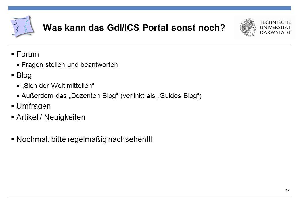 Was kann das GdI/ICS Portal sonst noch