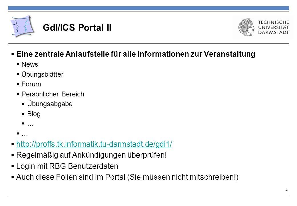 GdI/ICS Portal II Eine zentrale Anlaufstelle für alle Informationen zur Veranstaltung. News. Übungsblätter.