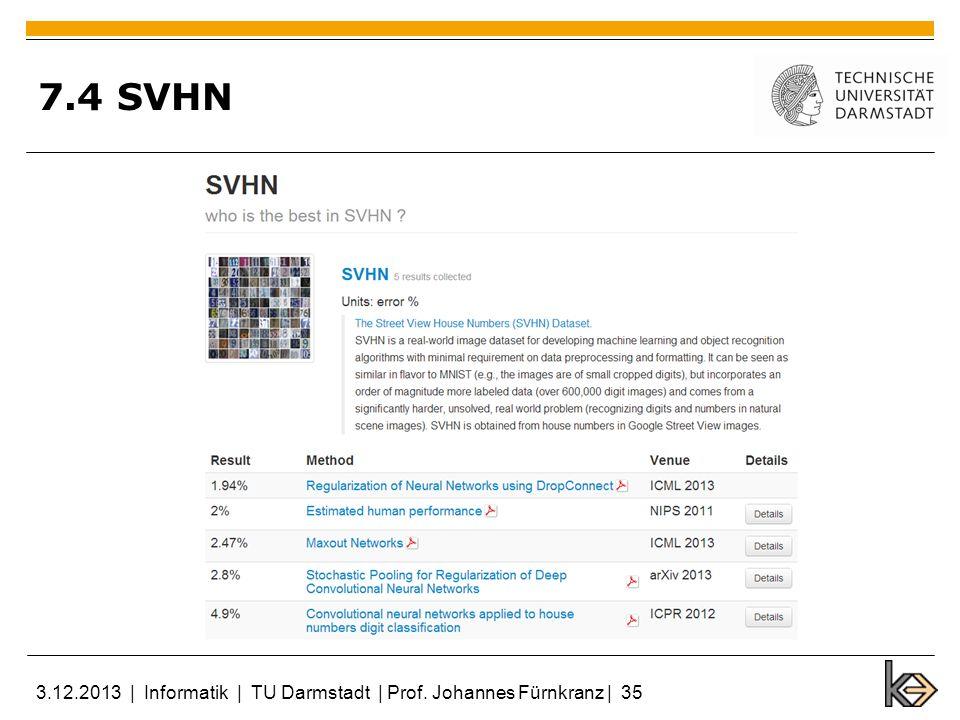 7.4 SVHN 3.12.2013 | Informatik | TU Darmstadt | Prof. Johannes Fürnkranz | 35