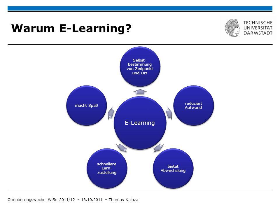 Warum E-Learning E-Learning Selbst-bestimmung von Zeitpunkt und Ort