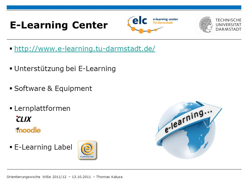 E-Learning Center http://www.e-learning.tu-darmstadt.de/