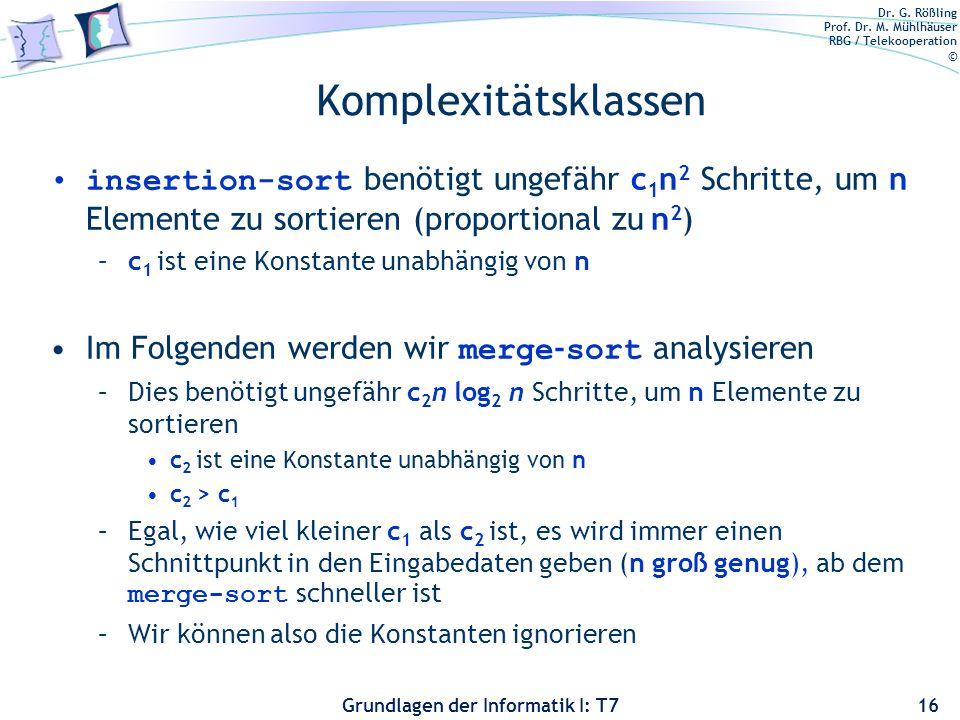 Komplexitätsklassen insertion-sort benötigt ungefähr c1n2 Schritte, um n Elemente zu sortieren (proportional zu n2)