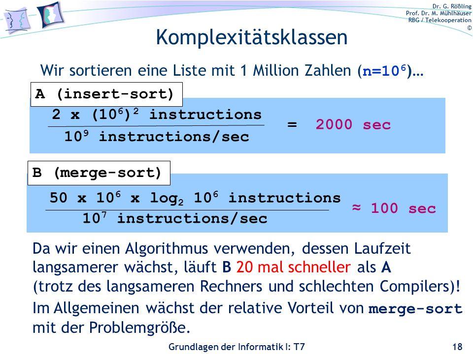 Komplexitätsklassen Wir sortieren eine Liste mit 1 Million Zahlen (n=106)… A (insert-sort) 2 x (106)2 instructions.