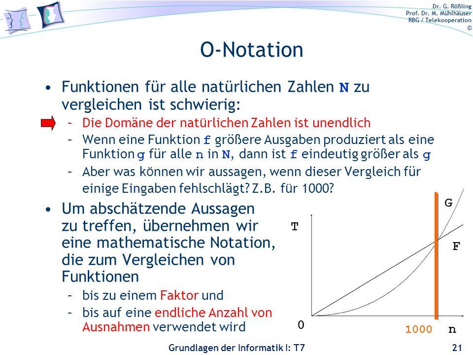O-Notation Funktionen für alle natürlichen Zahlen N zu vergleichen ist schwierig: Die Domäne der natürlichen Zahlen ist unendlich.