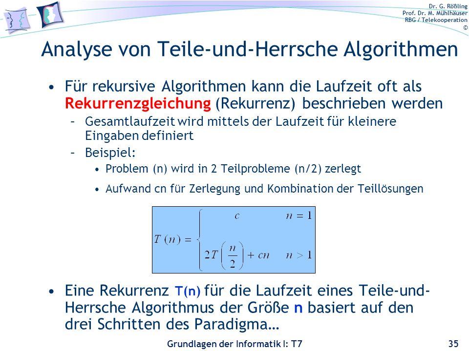 Analyse von Teile-und-Herrsche Algorithmen