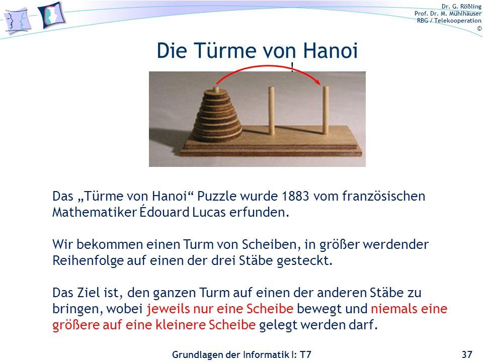 """Die Türme von Hanoi ! Das """"Türme von Hanoi Puzzle wurde 1883 vom französischen Mathematiker Édouard Lucas erfunden."""