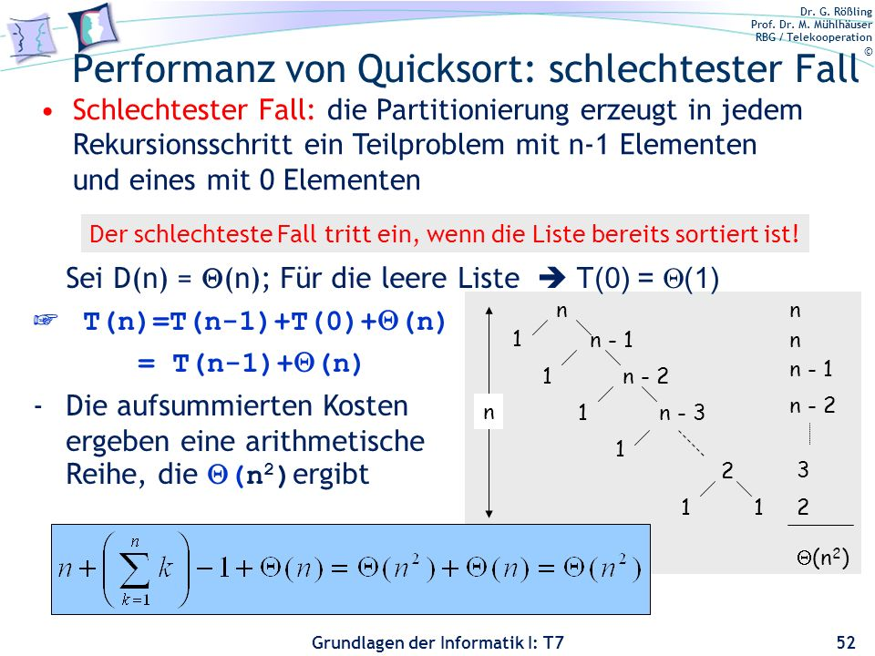 Performanz von Quicksort: schlechtester Fall