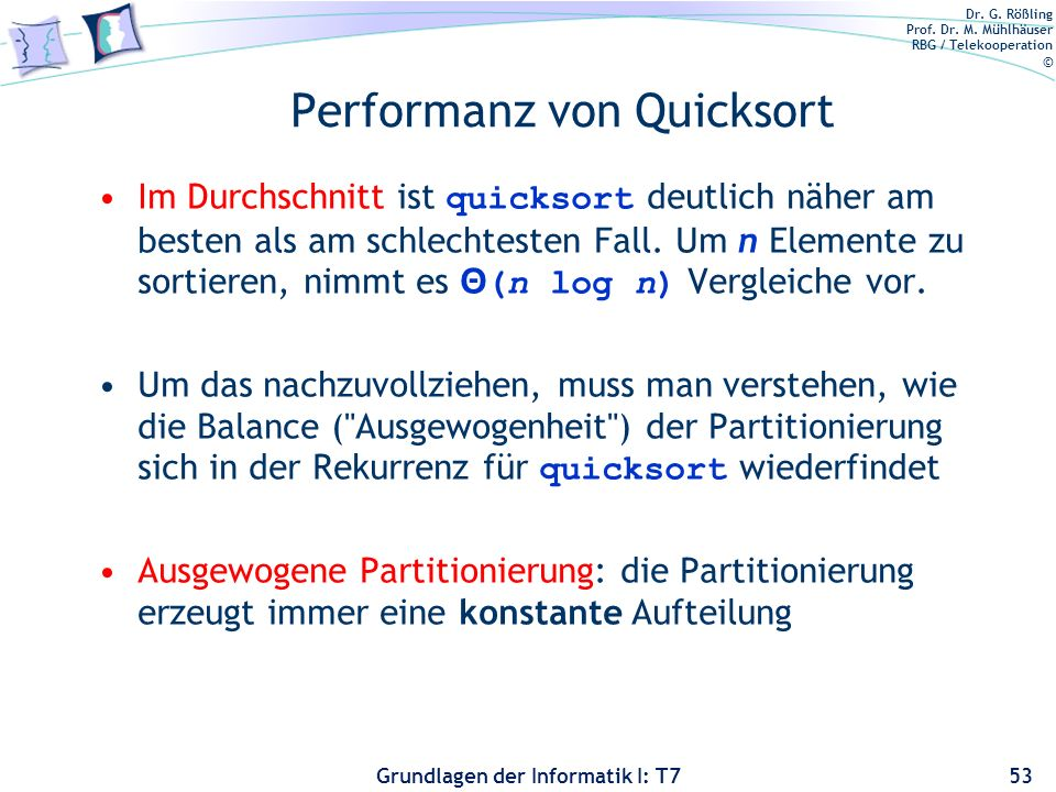 Performanz von Quicksort