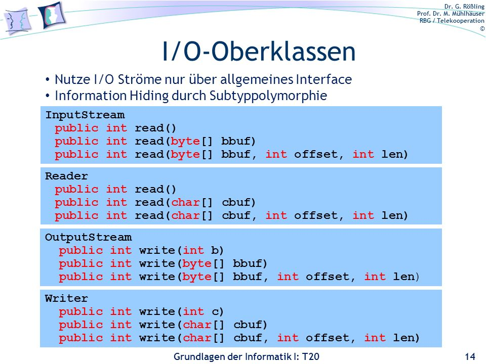 I/O-Oberklassen Nutze I/O Ströme nur über allgemeines Interface