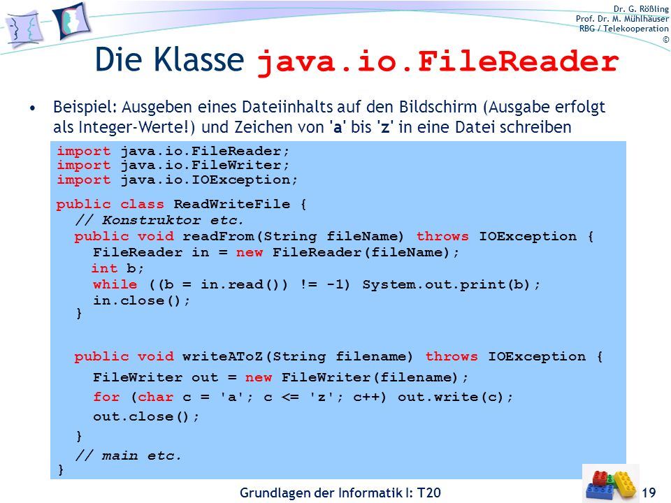 Die Klasse java.io.FileReader
