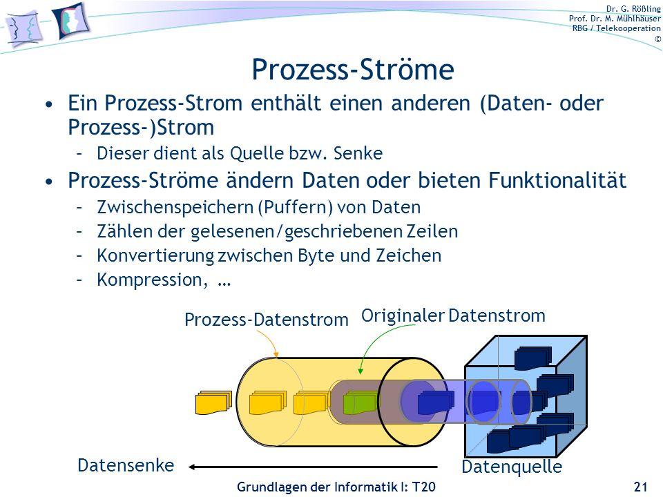 Prozess-Ströme Ein Prozess-Strom enthält einen anderen (Daten- oder Prozess-)Strom. Dieser dient als Quelle bzw. Senke.