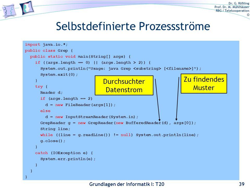 Selbstdefinierte Prozessströme