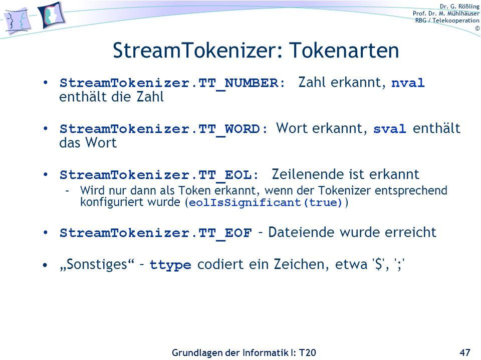 StreamTokenizer: Tokenarten