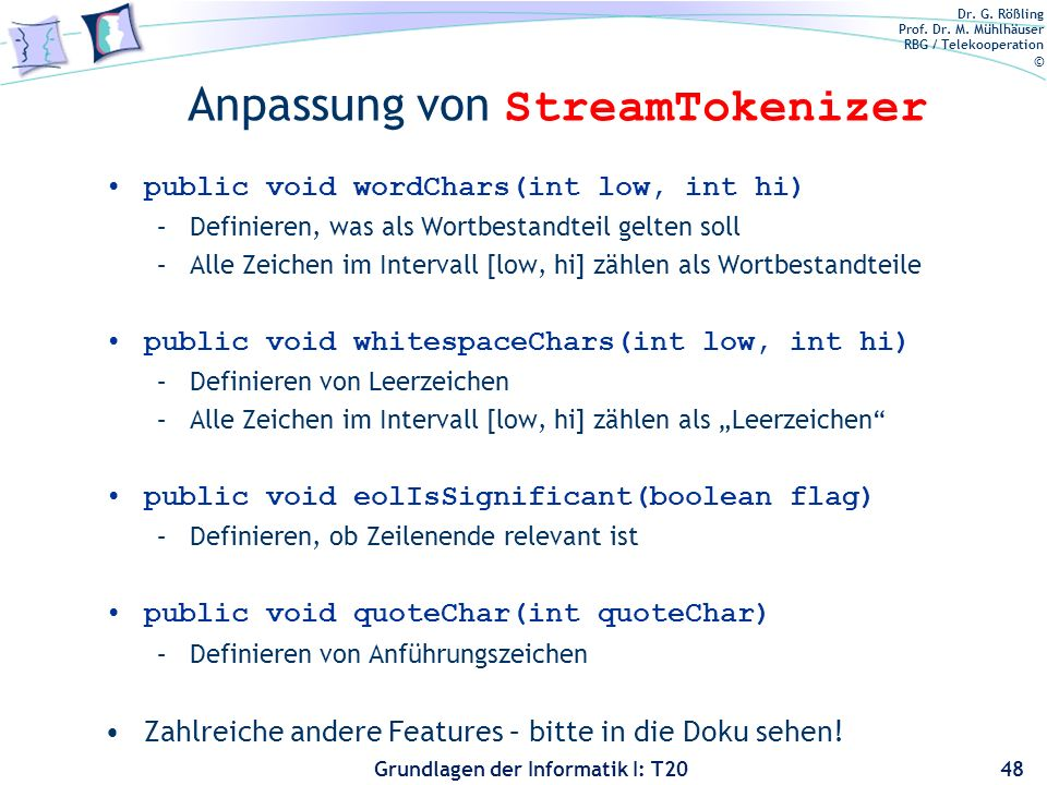 Anpassung von StreamTokenizer