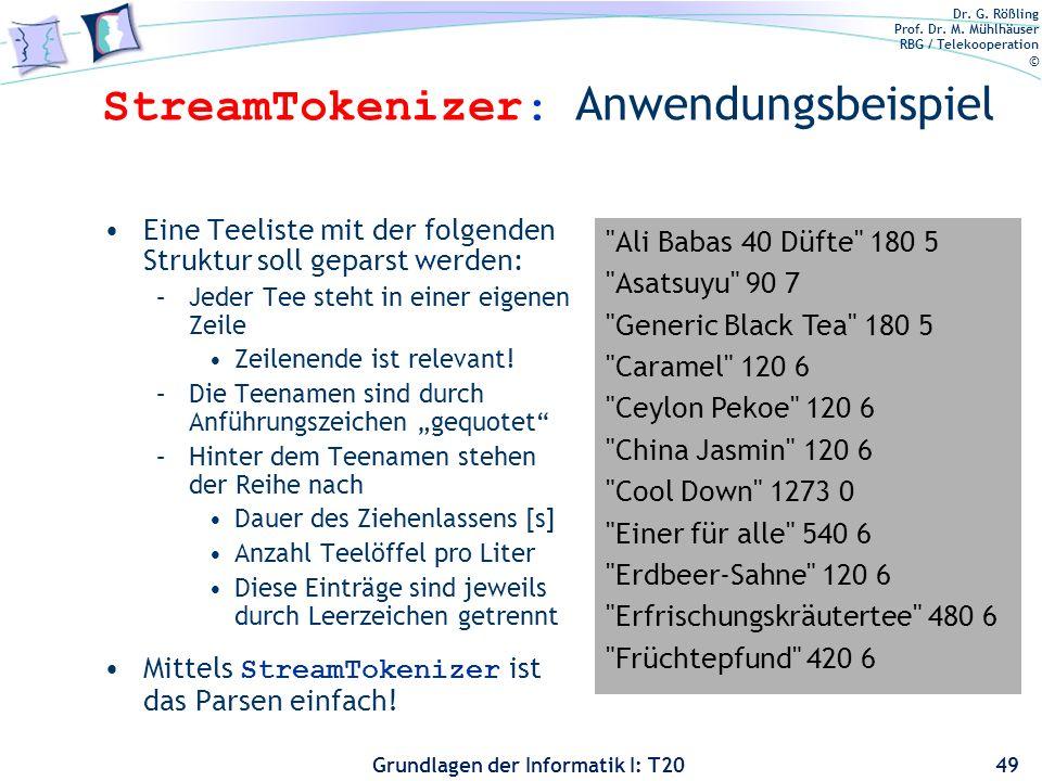 StreamTokenizer: Anwendungsbeispiel