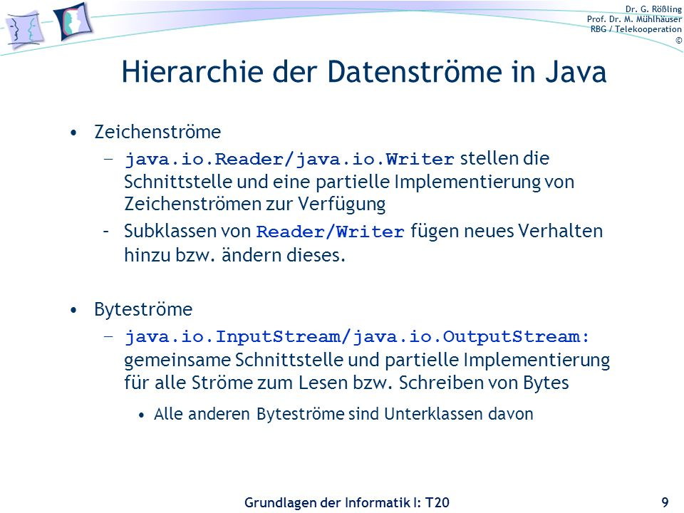 Hierarchie der Datenströme in Java