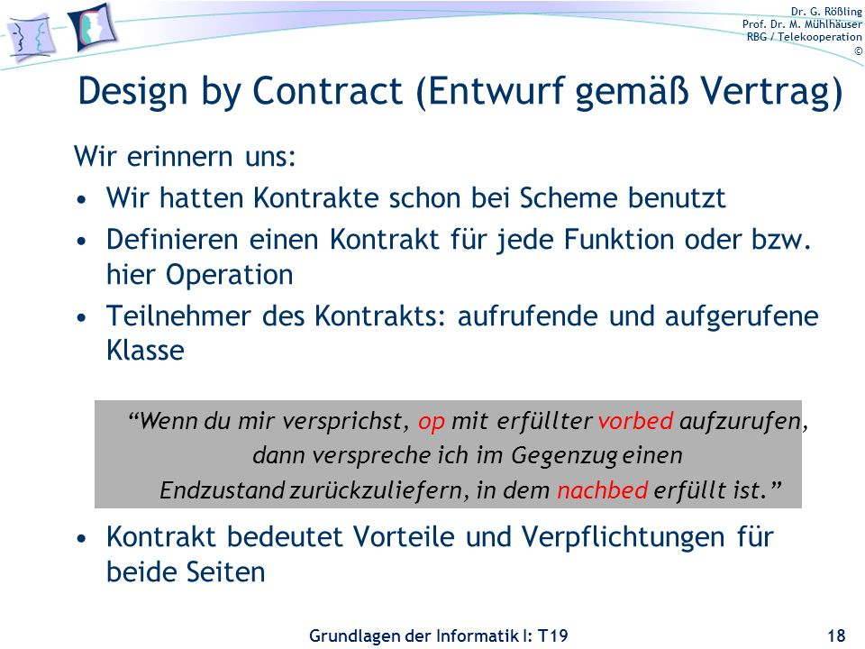 Design by Contract (Entwurf gemäß Vertrag)