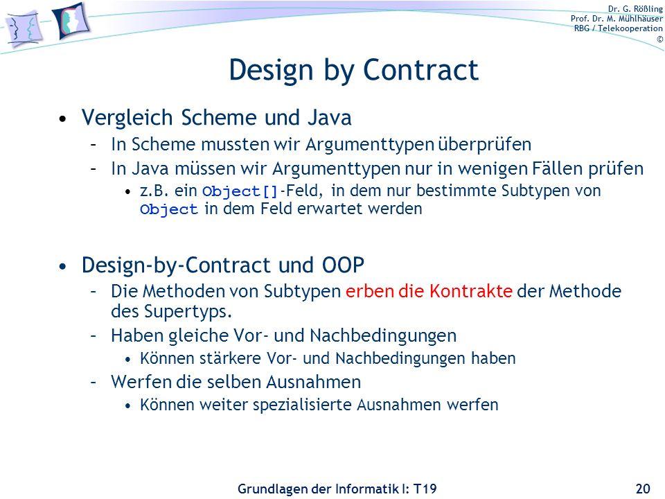 Design by Contract Vergleich Scheme und Java