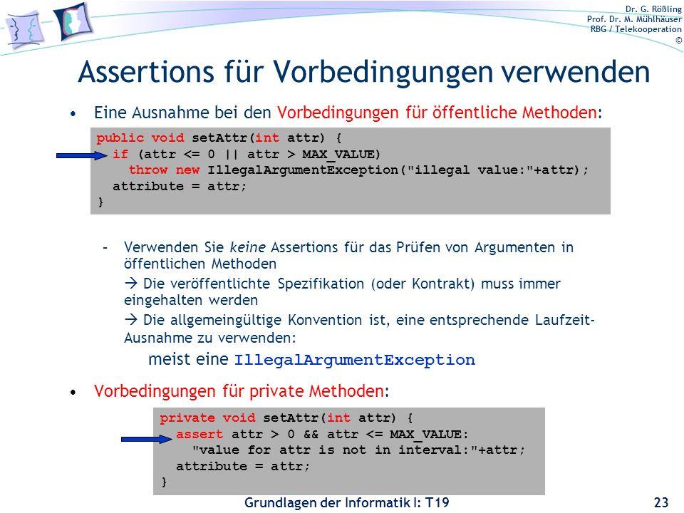 Assertions für Vorbedingungen verwenden
