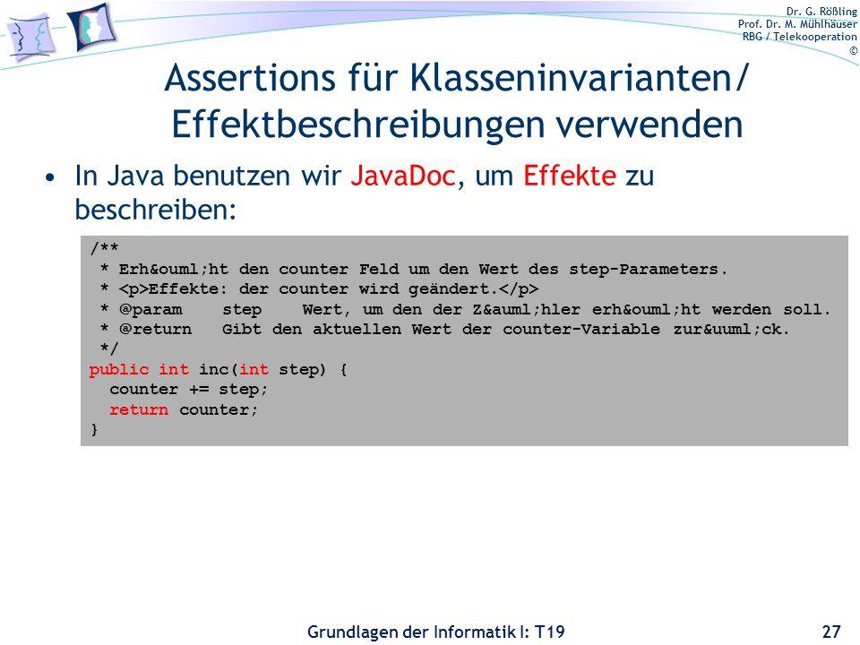 Assertions für Klasseninvarianten/ Effektbeschreibungen verwenden