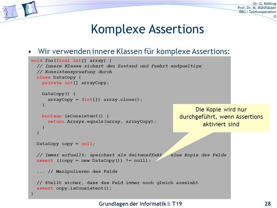 Die Kopie wird nur durchgeführt, wenn Assertions aktiviert sind