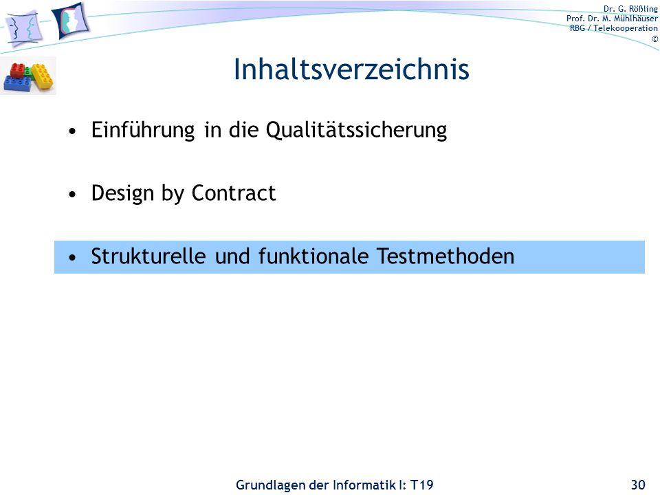 Inhaltsverzeichnis Einführung in die Qualitätssicherung